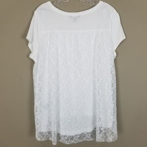 SIMPLY VERA VERA WANG White Tee w/ Lace Back Layer